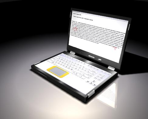 Concept of Canova dual-touchscreen laptop set up as a traditional laptop, with screen on top and keyboard on bottom touchscreen.