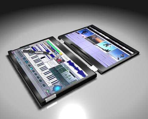 Musician interface with piano keyboard and software controls on bottom screen and visualization output on top.