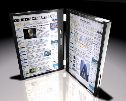 Canova rotated 90 degrees, like a traditional book, showing ebook content on both screens.